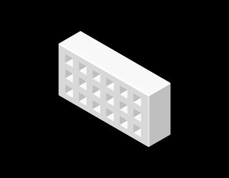 Illustration pour Perforated brick. Isolated on black background. 3D Vector illustration. Isometric projection. - image libre de droit