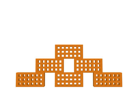 Illustration pour Pyramid of bricks. Isolated on white background. 3D Vector illustration. Front view. - image libre de droit