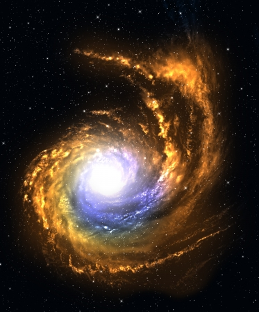 Spiral galaxy in deep space with starfield background. mural