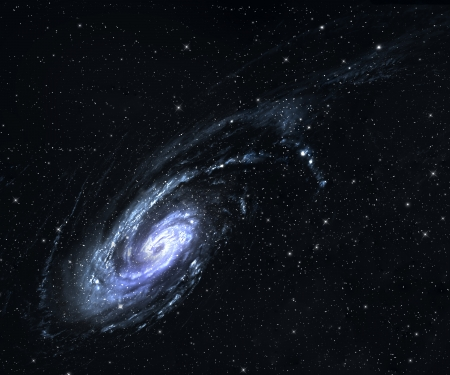 Spiral galaxy in deep space  mural