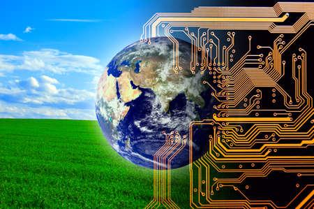 Photo pour Nature and technology. Concept of future.  - image libre de droit