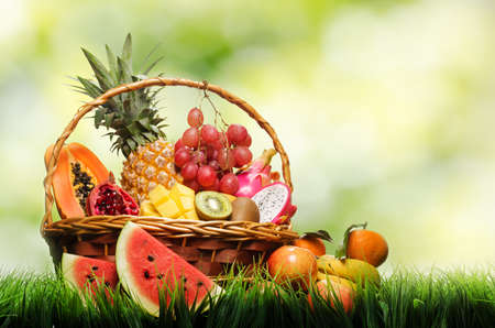 Photo for Basket of tropical fruits on green grass  - Royalty Free Image