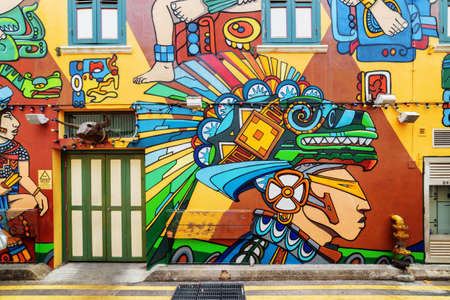 Photo for Singapore - February 19, 2017: Amazing colorful decorative painted wall at Haji Lane. Street art by an unknown artist at the Muslim quarter (Arab quarter) in the Kampong Glam. Graffiti in Singapore. - Royalty Free Image