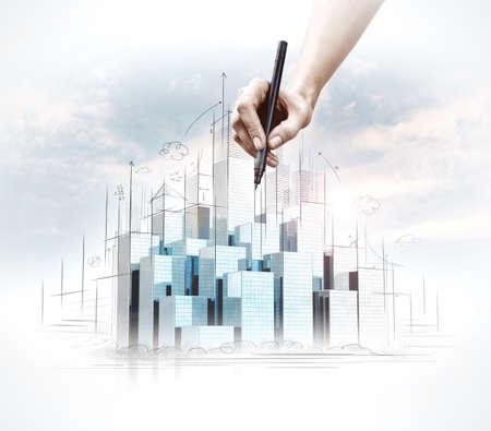 Foto de Hand drawing of urban scene. Construction concept - Imagen libre de derechos
