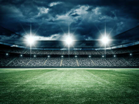 Photo for The imaginary soccer stadium is modeled and rendered. - Royalty Free Image