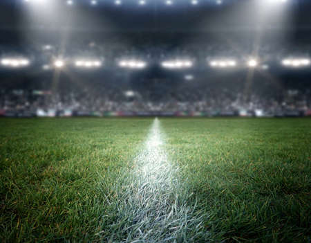 Photo pour stadium lights, the imaginary stadium is modeled and rendered. - image libre de droit