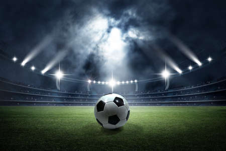 Soccer ball in the stadium. The imaginary football stadium is modeled and rendered.