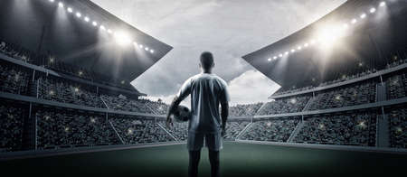 The football player in the stadium, the imaginary soccer stadium is modeled and rendered.
