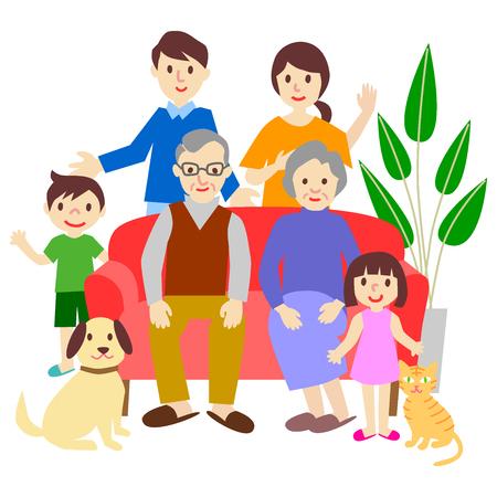 Illustrazione per Family Sofa Three generations - Immagini Royalty Free