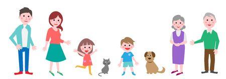 Illustrazione per Happy family portrait. Vector illustration. - Immagini Royalty Free