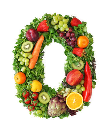 Fruit and vegetable alphabet - letter O