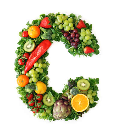Fruit and vegetable alphabet - letter C