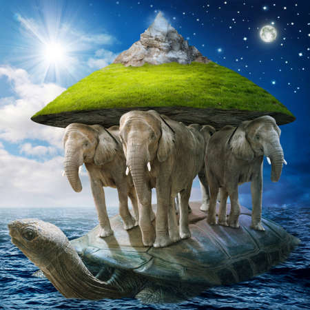 Photo for World turtle carrying the elephants that carries the earth upon their backs - Royalty Free Image