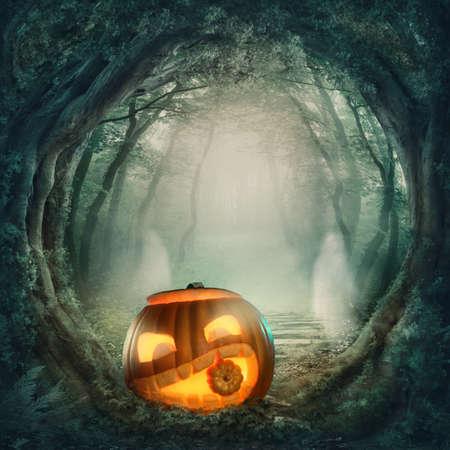 Photo pour Pumpkin in dark halloween forest - image libre de droit