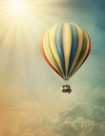 Photo for Hot air baloon high in the sky - Royalty Free Image