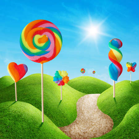 Photo for Fantasy sweet candy land with lollies - Royalty Free Image