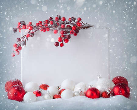 Photo for Blank sign  with christmas decorations - Royalty Free Image