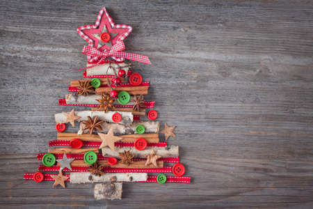 Photo for Christmas tree on wooden background - Royalty Free Image
