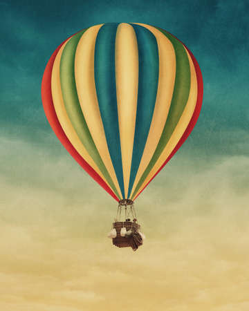 Photo for Hot air balloon high in the sky - Royalty Free Image