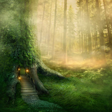 Photo for Fantasy tree house in forest - Royalty Free Image