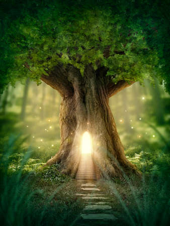 Photo for Fantasy tree house with light in the forest - Royalty Free Image