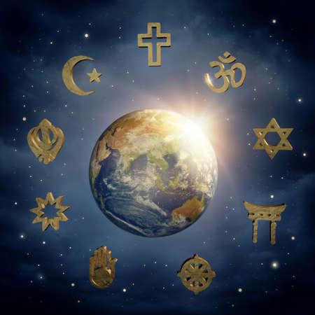 Foto de Planet Earth and religious symbols  - Imagen libre de derechos