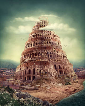 Photo for Tower of Babel as religion concept - Royalty Free Image