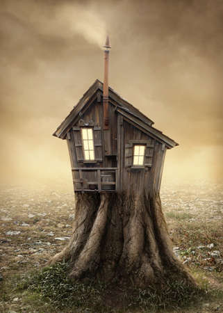 Photo for Fantasy tree house in the meadow - Royalty Free Image