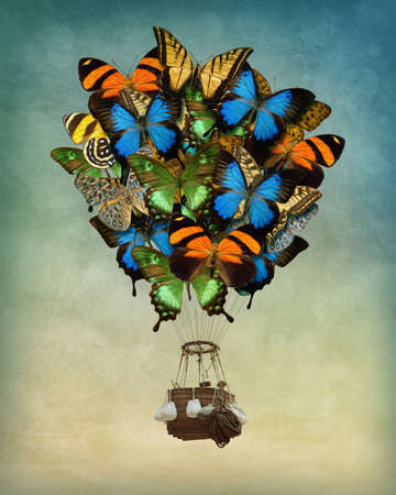 Photo for Butterfly hot air balloon high in the sky - Royalty Free Image
