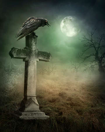 Photo for Crow on a grave at night - Royalty Free Image