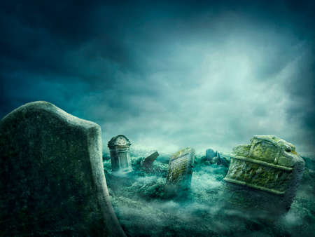 Photo for  Spooky old graveyard at night - Royalty Free Image