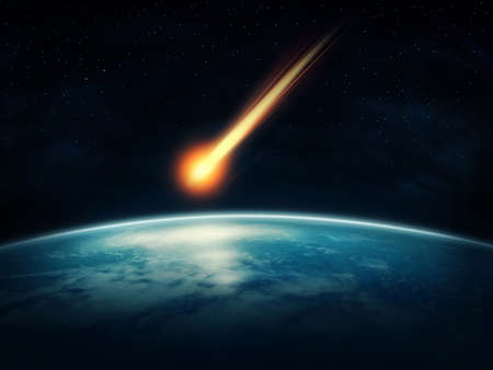 Photo pour Meteor flying to the earth - image libre de droit