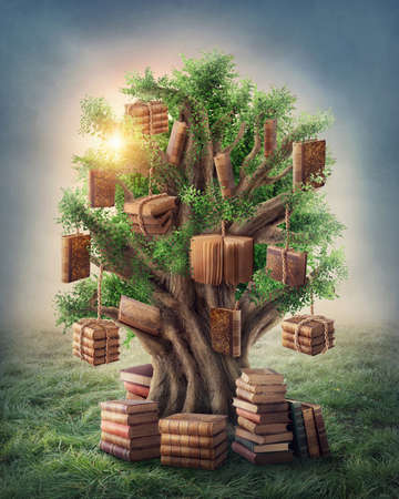 Photo pour Tree of knowledge in the meadow - image libre de droit