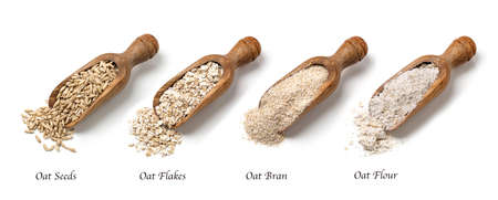Photo for Oat flakes, seeds and bran in spoons - Royalty Free Image