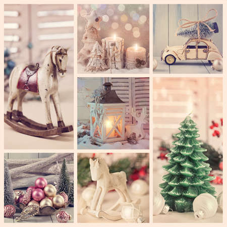 Photo for Collage with vintage christmas decoration  - Royalty Free Image