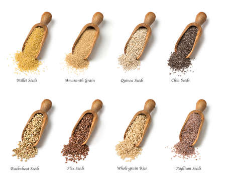 Foto per Wooden spoons with gluten free seeds - Immagine Royalty Free