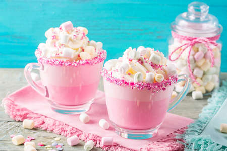 Photo for Unicorn hot chokolate and cookies for party - Royalty Free Image
