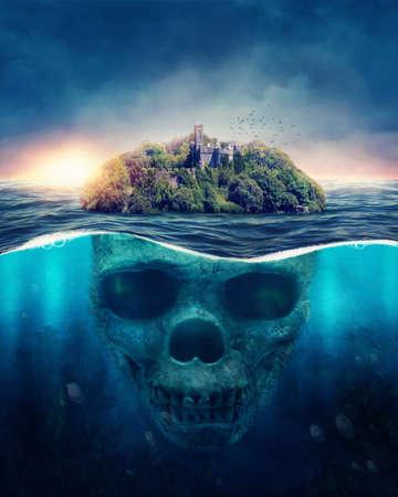 Foto de Fantasy Spooky Island.  Underwater scull - Imagen libre de derechos