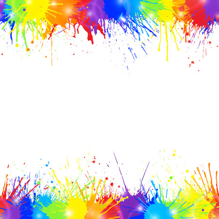 Ilustración de Bright colorful background with rainbow colored paint splashes and space for text. Seamless borders. Vector illustration. - Imagen libre de derechos