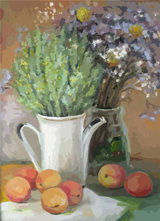Illustration pour Texture painting oil painting on canvas, abstract oil still life, fine art impressionism, painted color image the artist painting pattern flowers and fruits - image libre de droit