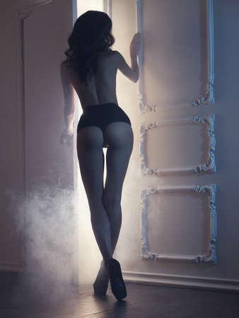 Photo pour Fashion art photo of young sensual lady in classical interior - image libre de droit