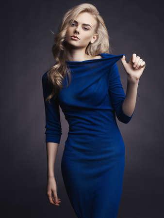 Photo for Studio fashion photo of elegant beautiful lady in blue dress - Royalty Free Image