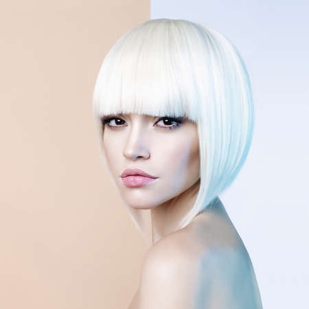 Photo for Art fashion studio portrait of beautiful blonde with short haircut - Royalty Free Image