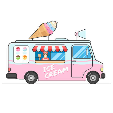Illustration pour Ice cream truck, side view. Seller of ice cream in the van. Ice cream van. Isolated vector flat design illustration on white background for your web design or print - image libre de droit