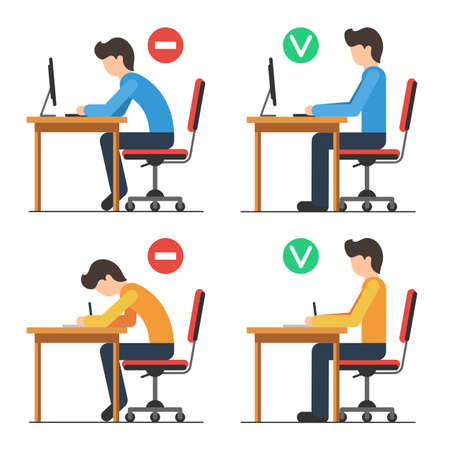Illustrazione per Correct and Incorrect back sitting position. Good and bad position spin. Vector illustration in flat style isolated for white background - Immagini Royalty Free