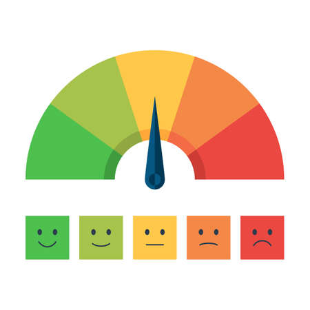 Ilustración de Color scale with arrow from red to green and the scale of emotions. The measuring device icon: sign tachometer, speedometer, indicators. Vector illustration in flat style isolated on white background - Imagen libre de derechos