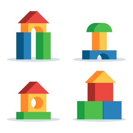 Illustration for Colorful wooden blocks toy, set building game castle and house. Vector flat style illustration isolated on white background - Royalty Free Image