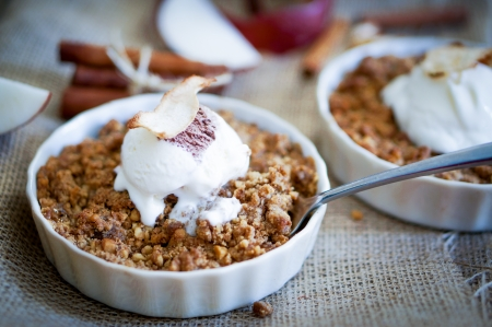 Photo for apple crumble with ice cream - Royalty Free Image