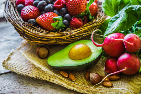 Foto für Fruits and vegetables on rustic background - Lizenzfreies Bild