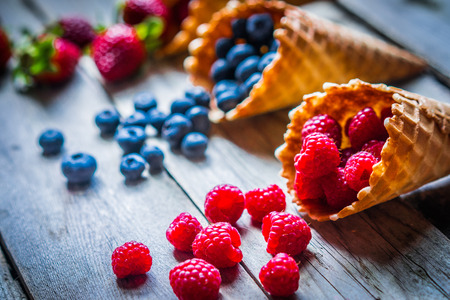 Photo for Berries in waffle cones - Royalty Free Image